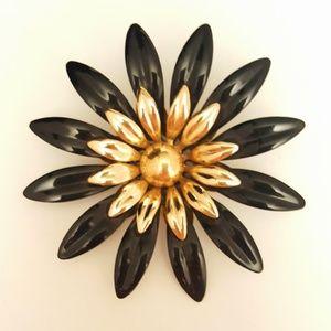 Jewelry - Enamel painted Flower Burst Black/Gold Brooch